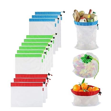 Amazon.com: Bolsas de malla reutilizables, 12 bolsas de ...