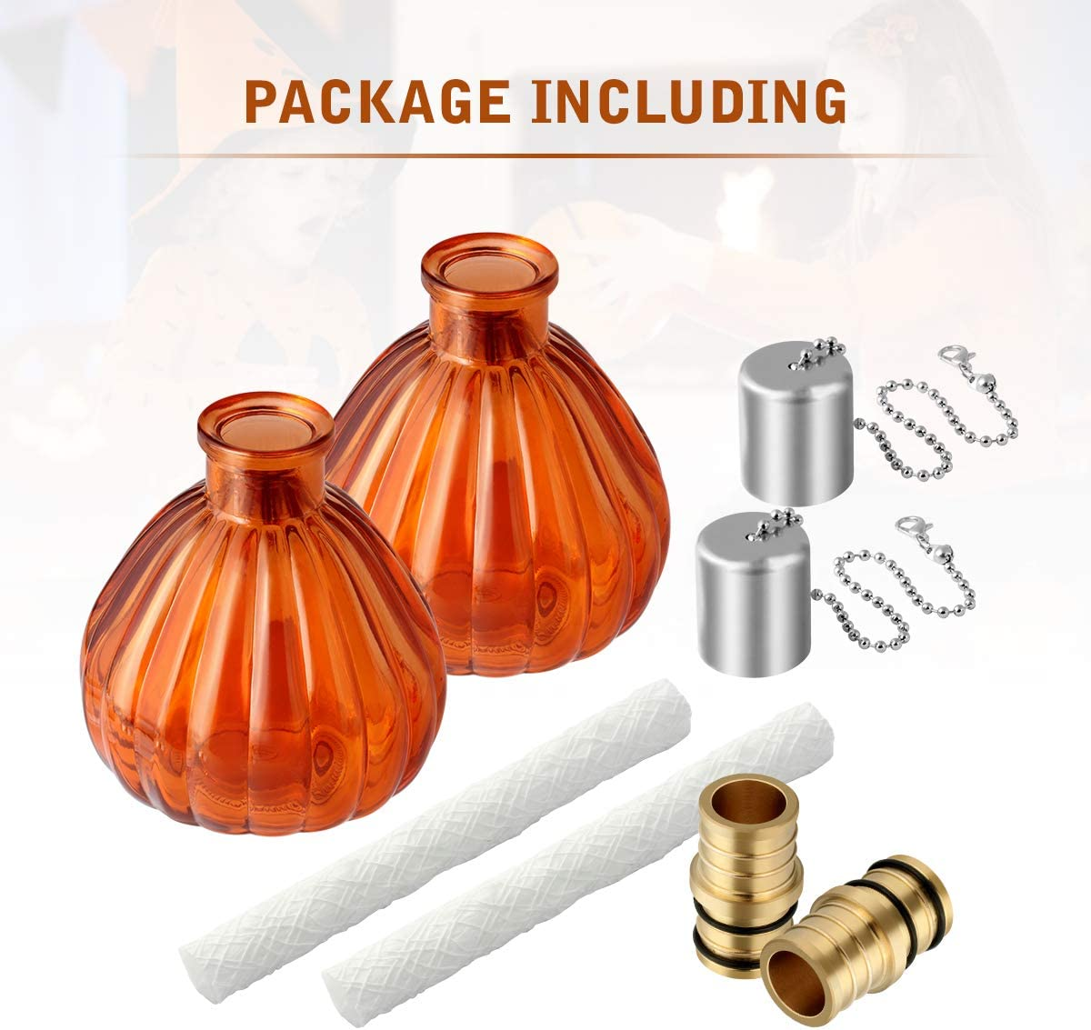 LANMU Glass Table Torch,Citronella Bottle Torch Kit 2 Pack Outdoor Patio Garden Torch Decor for Party//Halloween//Thanksgiving//Christmas