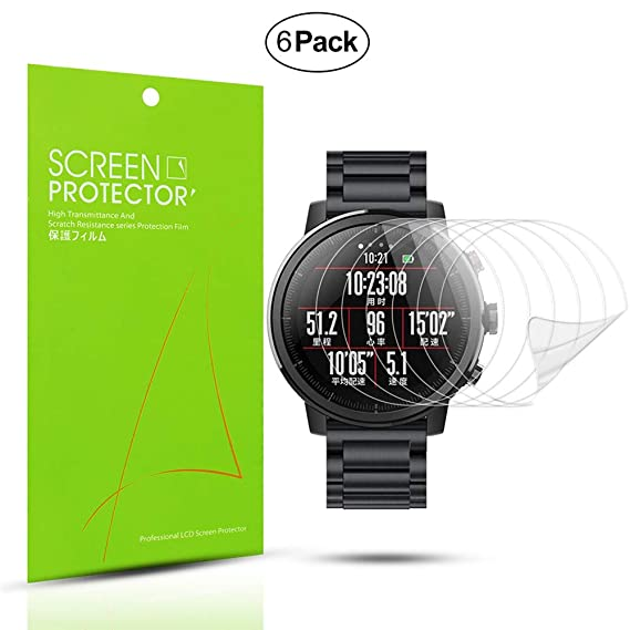 Diruite 6-Pack for Xiaomi Huami Amazfit Stratos Screen Protector Film [Anti-Scratch] [Full Coverage] [HD Clear] Screen Protector for Huami Amazfit ...
