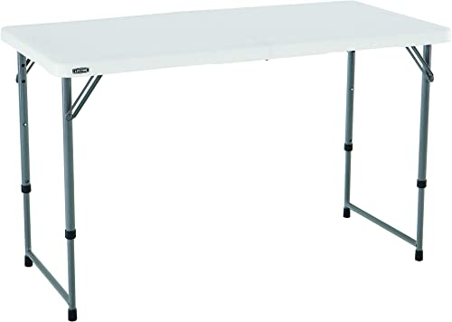 Lifetime Height Adjustable Craft Camping and Utility Folding Table, 4 ft, 4 48 x 24, White Granite