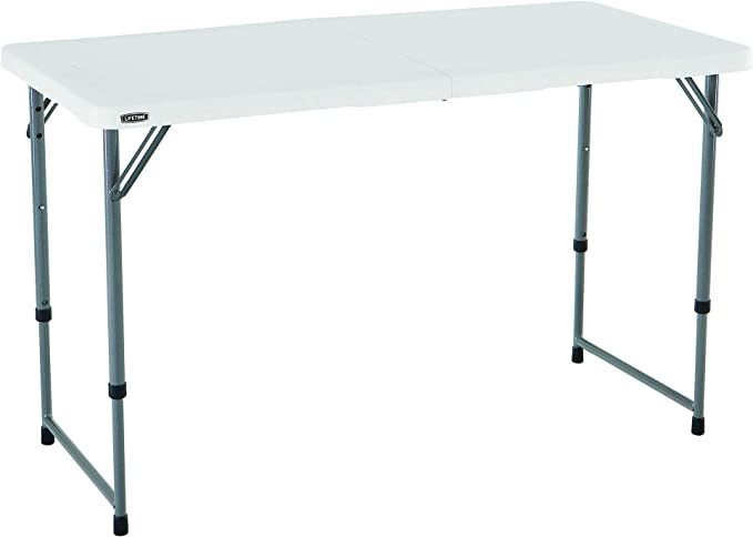 Amazon.com : Lifetime Height Adjustable Craft Camping and Utility Folding Table, 4 ft, 4