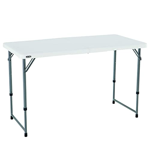 Lifetime 4428 Height Adjustable Craft, Camping and Utility Folding Table, 4 ft White
