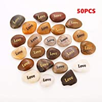 RockImpact 50PCS Love Love Stone Engraved Rocks Inspirational Prayer Stones Gift Chakra Healing Palm Spirit Affirmation Stones Positive Encouraging Rocks Wholesale Bulk Love Rock, 2