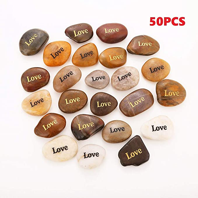 50PCS Love RockImpact Love Stone Engraved Rocks Inspirational Prayer Stones Gift Chakra Healing Palm Spirit Affirmation Stones Positive Encouraging Rocks Wholesale Bulk Love Rock, 2