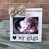 Grandmother gift | Rustic Picture Frame | I Love My Gigi | Vintage Shabby Chic Farmhouse Decor | Burlap Bowtique