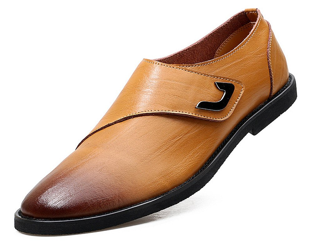 JiYe Men's Genuine Leather Oxfords Shoes Working Wedding Shoes by, Yellow,10.5 M US