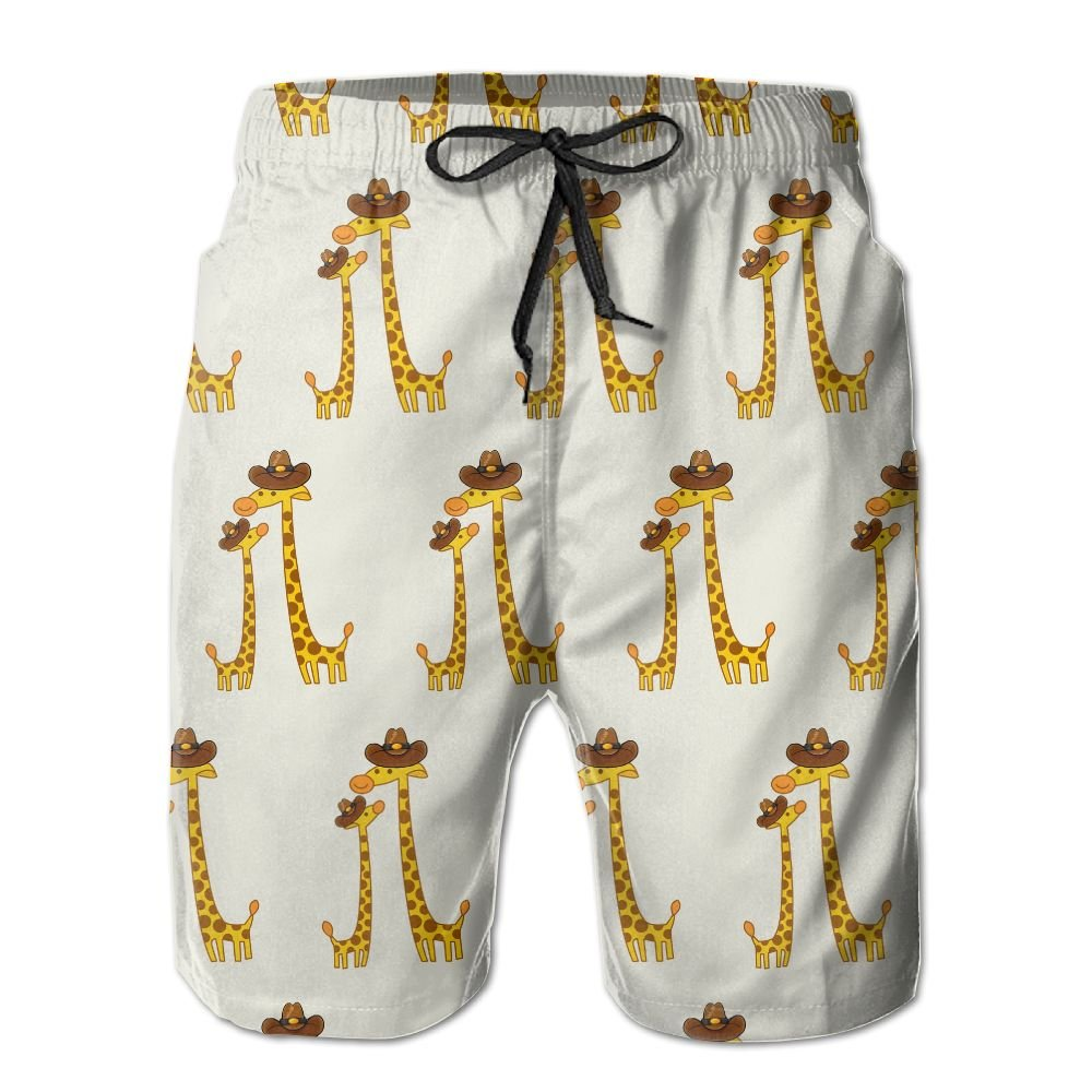 Men Giraffes With A Cowboy Hat Quick Dry Lightweight Fashion Board Shorts Swim Trunks L by COOA