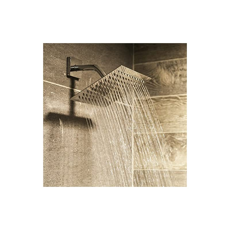 Square Rainfall Fixed Chrome High Flow Showerhead Made of FULL Stainless Steel Rainfall Shower Head 8 High Pressure Waterfall