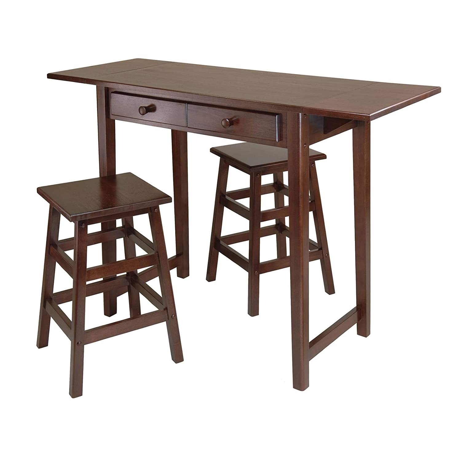 Amazon.com   Mercer Double Drop Leaf Table With 2 Stools Leaf Drop Table  Antique Leg Gate Mahogany Oak Twist Solid Svitlife   Tables