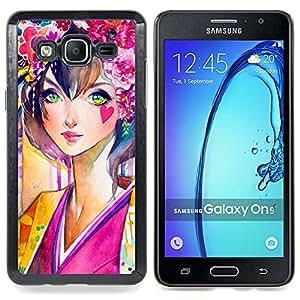 Girl Feminine Flowers Nature Painting Love Caja protectora de pl??stico duro Dise?¡Àado King Case For Samsung Galaxy On5 SM-G550FY G550