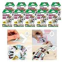 Fujifilm Instax Mini Instant Film, 2 x 10 Shoots x 10 Pack (Total 200 Shoots) Value Set + 40 Pcs Film Decorative Sticker