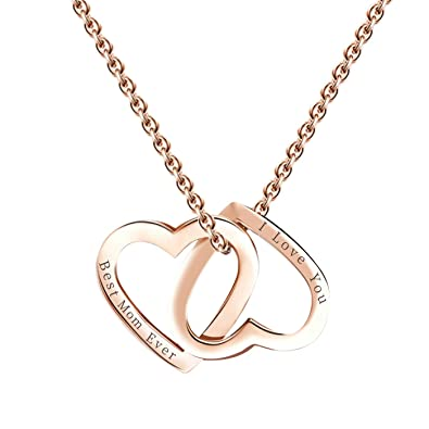 Amazon.com: Niyokki - Collar con colgante de corazón doble ...
