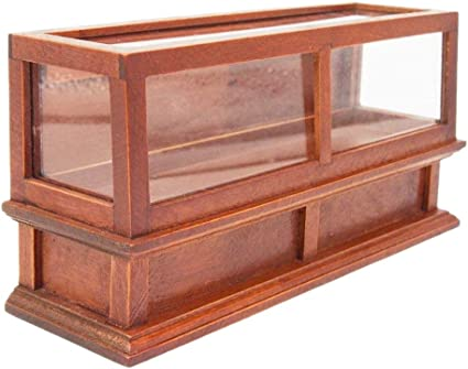 Luxury Miniature Wood Display Cabinet 1//12 Dollhouse Furniture Accessories