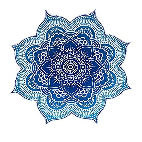 Large Round Lotus Flower Mandala Tapestry - 100% Cotton - Outdoor Beach Roundie - Hippie Gypsy Boho Throw Towel Tablecloth Wall Hanging Yoga/Picnic/Camping Mat - Ocean Blue Turquoise - (Indian Design Throw Rugs)