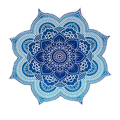 Large Round Lotus Flower Mandala Tapestry - 100% Cotton - Outdoor Beach Roundie - Hippie Gypsy Boho Throw Towel Tablecloth Wall Hanging Yoga/Picnic/Camping Mat - Ocean Blue Turquoise - 72
