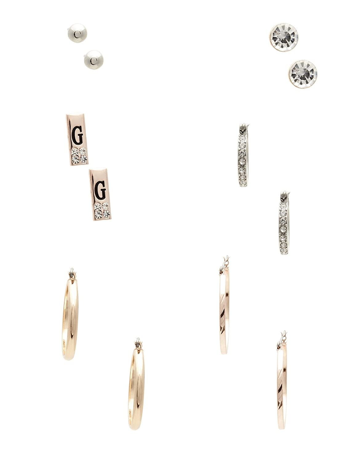 GUESS Factory Women's Mixed-Metal Hoop and Stud Earrings Set, NS