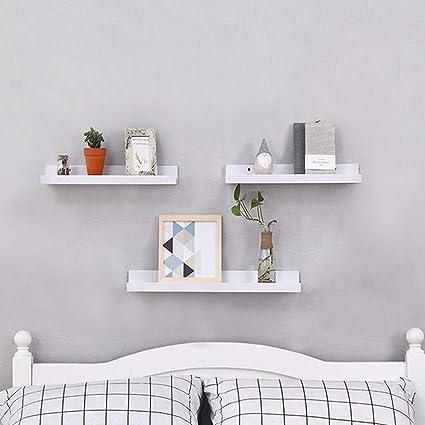 Tanburo Set Of 3 Floating Shelves White Mounted Wooden Wall Display Shelf Decorative Storage Rack In Bedroom Kitchen Living Room Co Uk