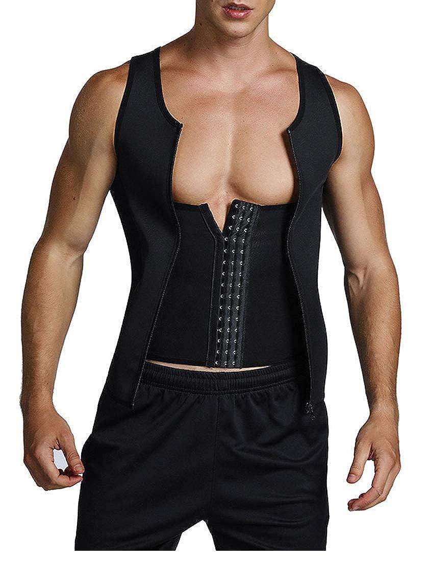 TingW Mens Body Sculpting Vest Neoprene Zipper Increased Core Stability Vest Shapewear
