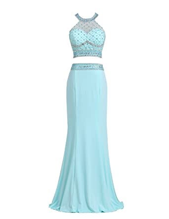 Beyonddress Womens Halterneck Crystals and Beads Bodice Crop Top Long Bridesmaid Dress Evening Prom Gown(
