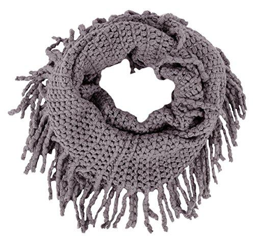 Women's Winter Warm Crochet Knit Fringe Infinity Loop Scarf,Dark Grey - Knit Fringe Scarf