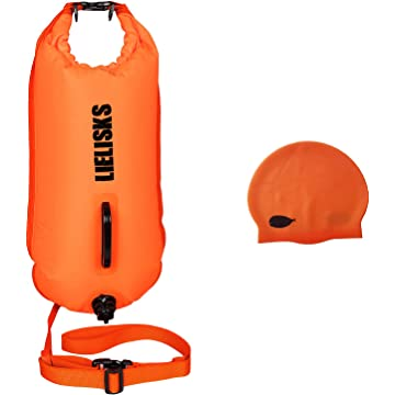 Lielisks Buoy Swim Bag Open Water Swim Buoy Flatation Device with Waterproof Dry Bag and Unisex Silicone Swim Cap for Swimmers and Snorkelers