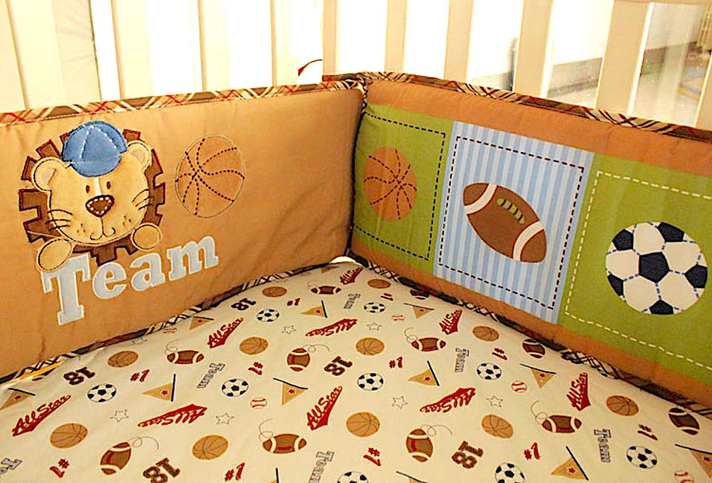 BabyCrib Unique Cute Adorable Bear All Star Baseball Team Sports 10 Piece Bedding Set Including Crib Bumper Diaper Stacker and Bonus Baby Monthly Milestone Blanket for Newborn Baby Boy.