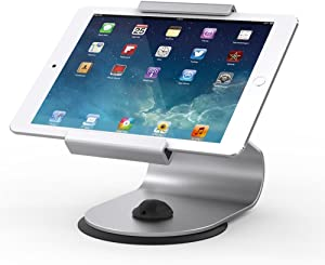 Beelta Aluminium iPad Stand and Holders - 360 Swivel Base,for 10.2 iPad 7th, iPad 5th/ 6th, iPad Air, iPad Pro 9.7/12.9/10.5, Tablets (6.65-8.7 inch),Silver,BSC105S