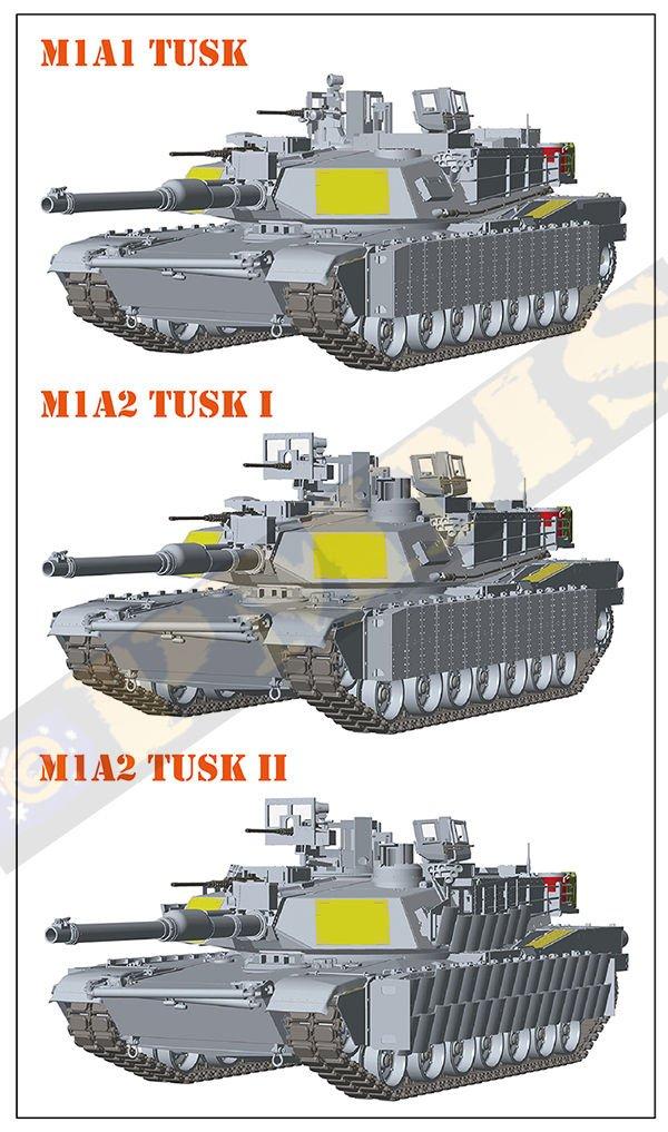 Rye Field Model 1:35 M1A2 SEP Abrams Tusk I//II M1A1 Tusk 3 in 1 Plastic #5004