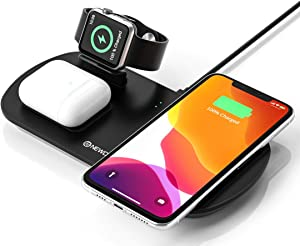 Newdery 3 in 1 Wireless Charging Stand, Wireless Charger for Apple Watch, Airpods Pro/2, Qi Cableless Charging Dock Triple Station for iPhone 11/11 Pro Max/XS/XR/SE/7/8 Plus