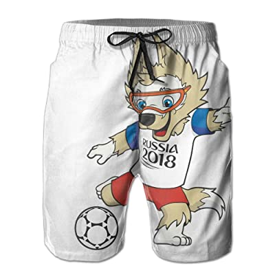 2018 Russia FIFA World-Cup Mascot Mens Shorts Loose Summer Swimming Trunks Running Swimming and Surfing
