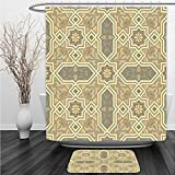 Vipsung Shower Curtain And Ground MatTiles Geometric Decor Classic Mexican Tile Traditional Greek and Oriental Pattern Stars Paisley Trellis Themed Design Beige GrayShower Curtain Set with Bath Mats R
