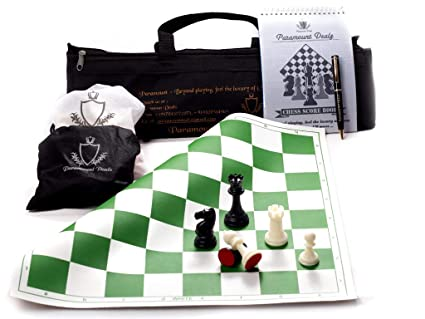Paramount Dealz 17x 17 Professional Vinyl Chess Set - with 2 Extra Queens/Chess Bag,Scorebook & Pen, Green