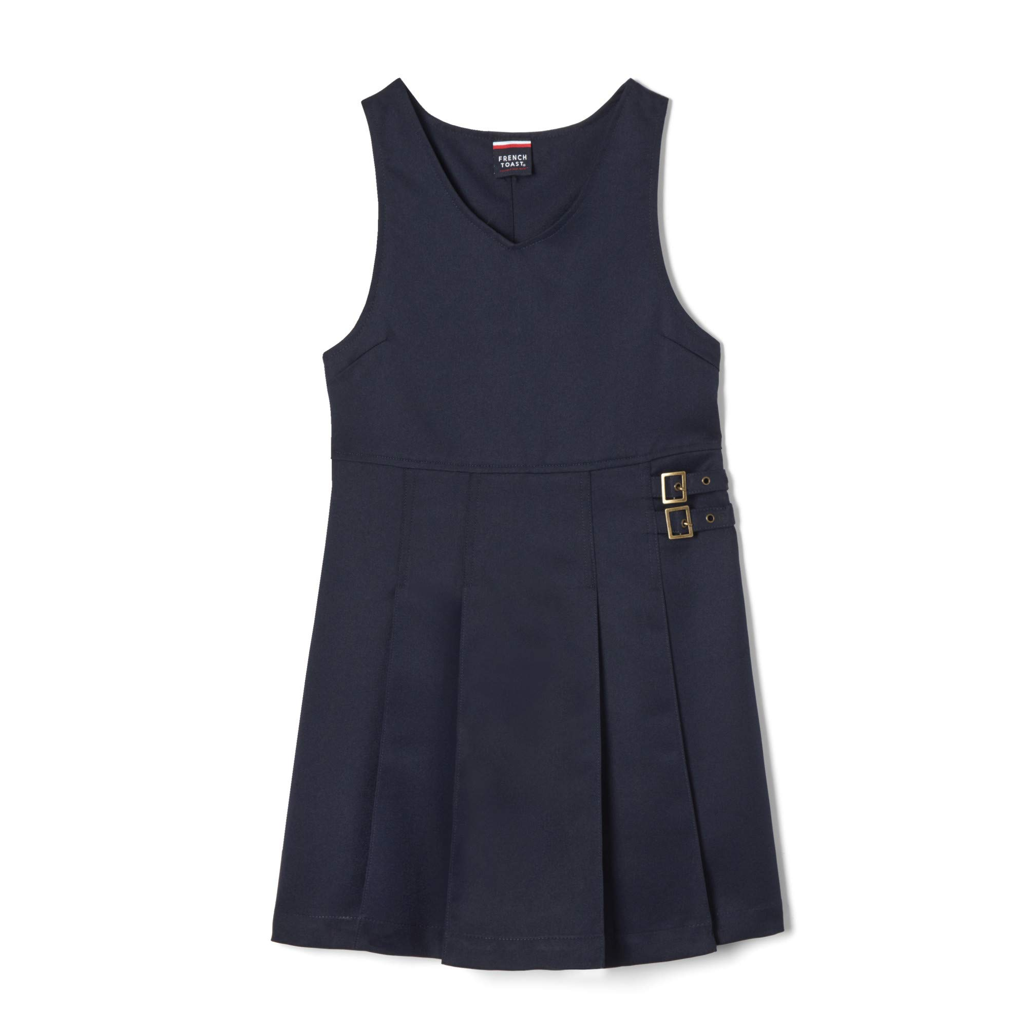 French Toast Girls Size' Double Buckle Tab Jumper, Navy, 18.5 Plus