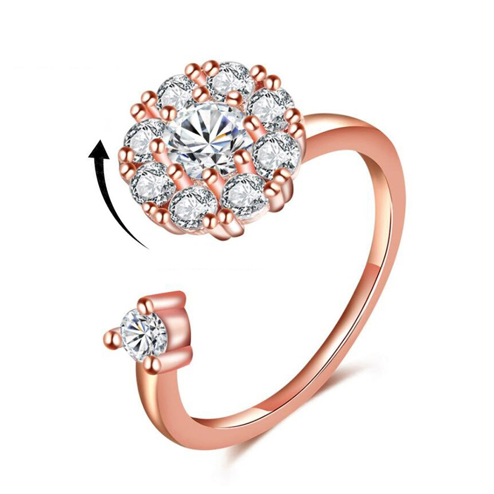 Bling Toman Rose Gold Ring for Anxiety Women Open Ring Adjustable Spinner Ring Wrap Diamond Rotating Ring Solitaire Fidgeter Rings (Rose Gold Band Ring)