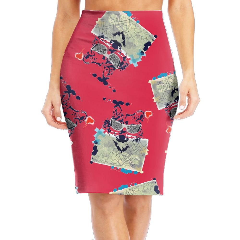 R8e5 Cloth Wolf Sunglasses Cartoon Women Fabric High Waist Mini Skirts Bodycon Pencil Skirts