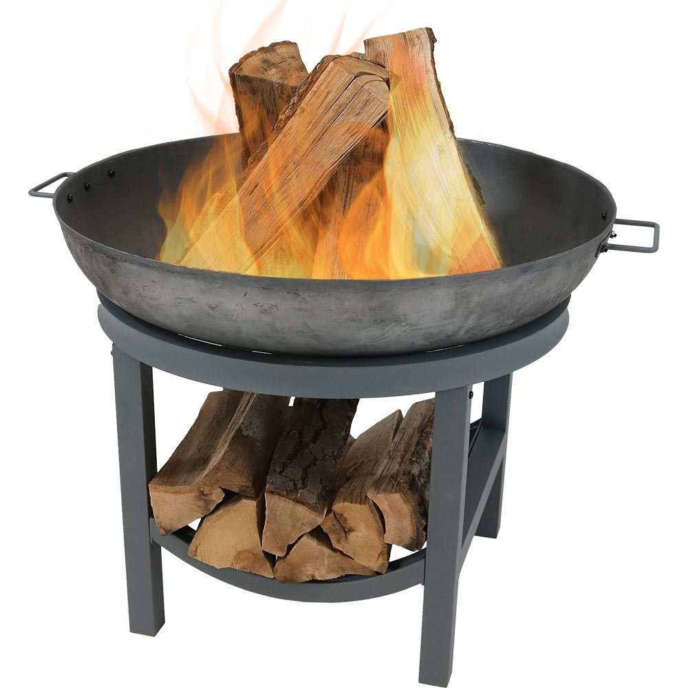 Sunnydaze cast iron round fire pit bowl with built in log rack outdoor wood burning fireplace 30 inch