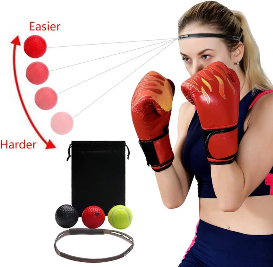 EggshellHome Reflejo De Boxeo De Bolas, Bolas De Dificultad 3 Nivel Reacción con Banda De Sudor para Mejorar La Velocidad, La Coordinación del Ojo Y La Perforación De Precisión Ejercicio