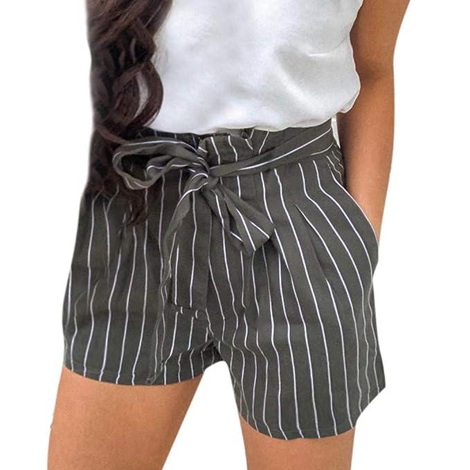 28c4e1521e beautyjourney Pantalones Cortos de Ocio de Verano para Mujeres Shorts de  Playa a Rayas de Talle Alto Pantalones Cortos de Raya Mini Pantalones Cortos  de ...
