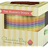 Chambers Bay Baking Company - 13 Jumbo Size Reusable Silicone Baking Cups / Nonstick Cupcake Liners / Premium Muffin Molds - Stand Alone Cupcake Holders - No BPA - Gift Set - 6 Designer Colors