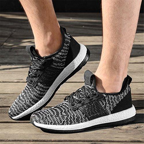 Para hombre zapatillas gimnasio Walking zapatillas Fitness deportes de ligero zapatillas de running(Negro-3 42 EU)