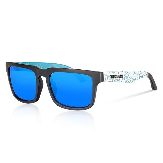 Queshark Gafas de Sol Polarizadas Shades para Hombres Lente Cuadrada Espejo Vintage (C01)
