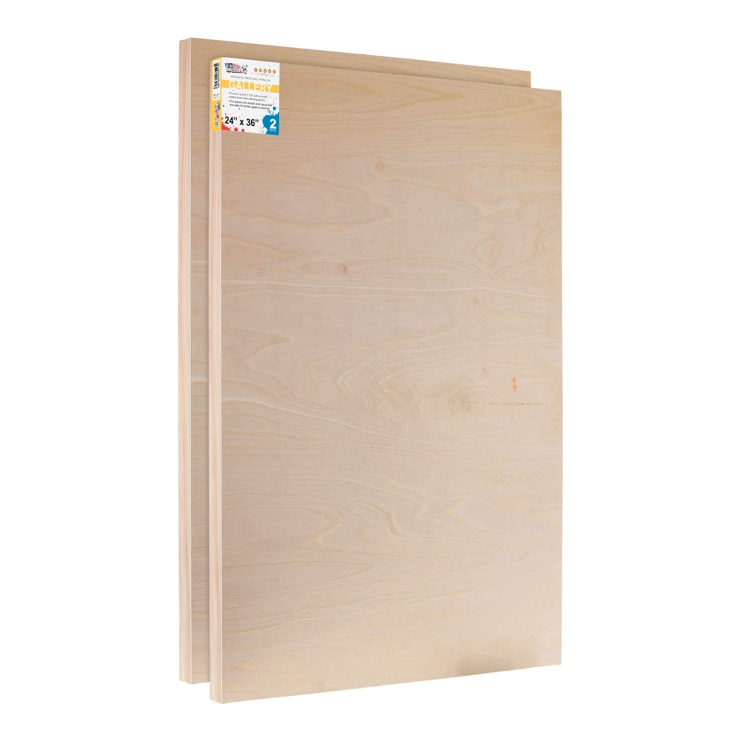 U.S. Art Supply 24'' x 36'' Birch Wood Paint Pouring Panel Boards, Gallery 1-1/2'' Deep Cradle (Pack of 2) - Artist Depth Wooden Wall Canvases - Painting Mixed-Media Craft, Acrylic, Oil, Encaustic by US Art Supply