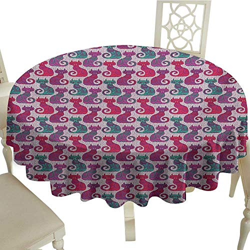 Cranekey Floral Round Tablecloth 60 Inch Purple,Swirls and Curls Background with Damask Inspired Paisleys on The Ethnic Colorful Cat,Multicolor Perfect for Spring,Summer,Farmhouse Décor,& More