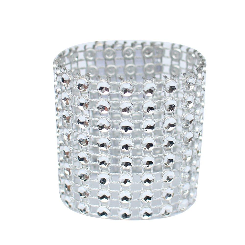 Napkin Rings, SHZONS 50 PCS Rhinestone Napkin Holder for DIY Party Birthday Banquet Supply Wedding Decoration