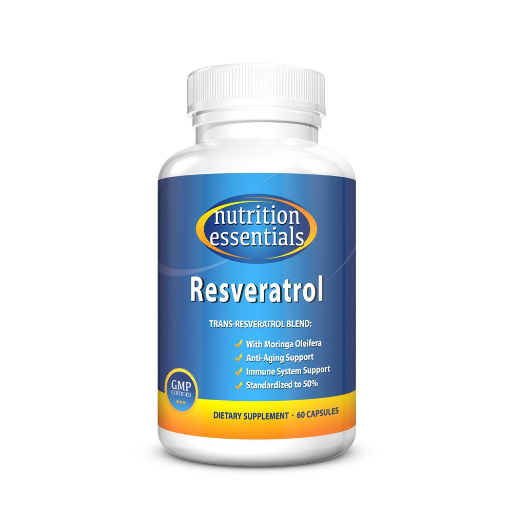 Nutrition Essentials Resveratrol   Natural Supplement for Anti-Aging and Immune System Support   Trans-Resveratrol Blend with Moringa Oleifera   GMP Approved   Made in USA   60 Capsules
