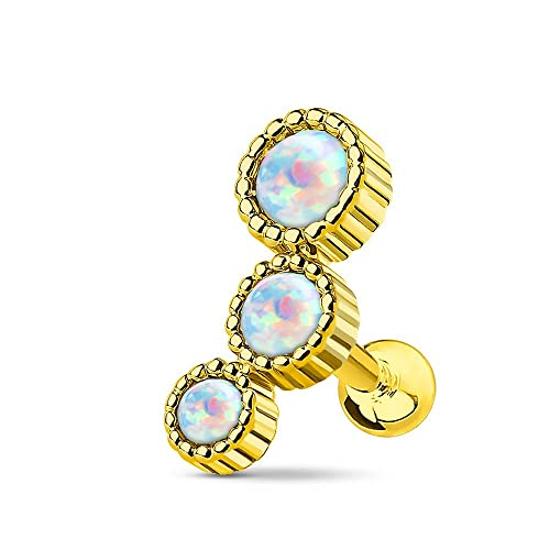 Sold Individually Inspiration Dezigns 16G Triple Imitation Opal Cluster Curved Barbell Eyebrow Ring