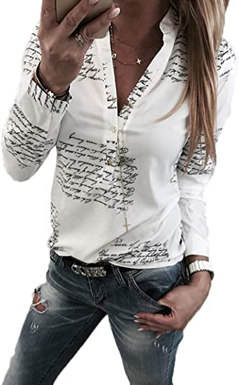 Ajpguot Camisas Mujer Cuello V Blusas Estampado de Leopardo Tops Casual Camisetas de Manga Larga: Amazon.es: Ropa y accesorios