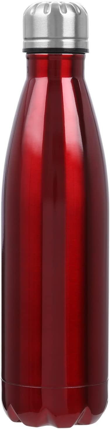 Botella de Agua, 500ml Botella de Agua de Acero Inoxidable, Botella Aislada al Vacío, Botella Térmica, sin BPA, para Fiestas & Deportes al Aire Libre Camping Senderismo Picnic Ciclismo, Rojo