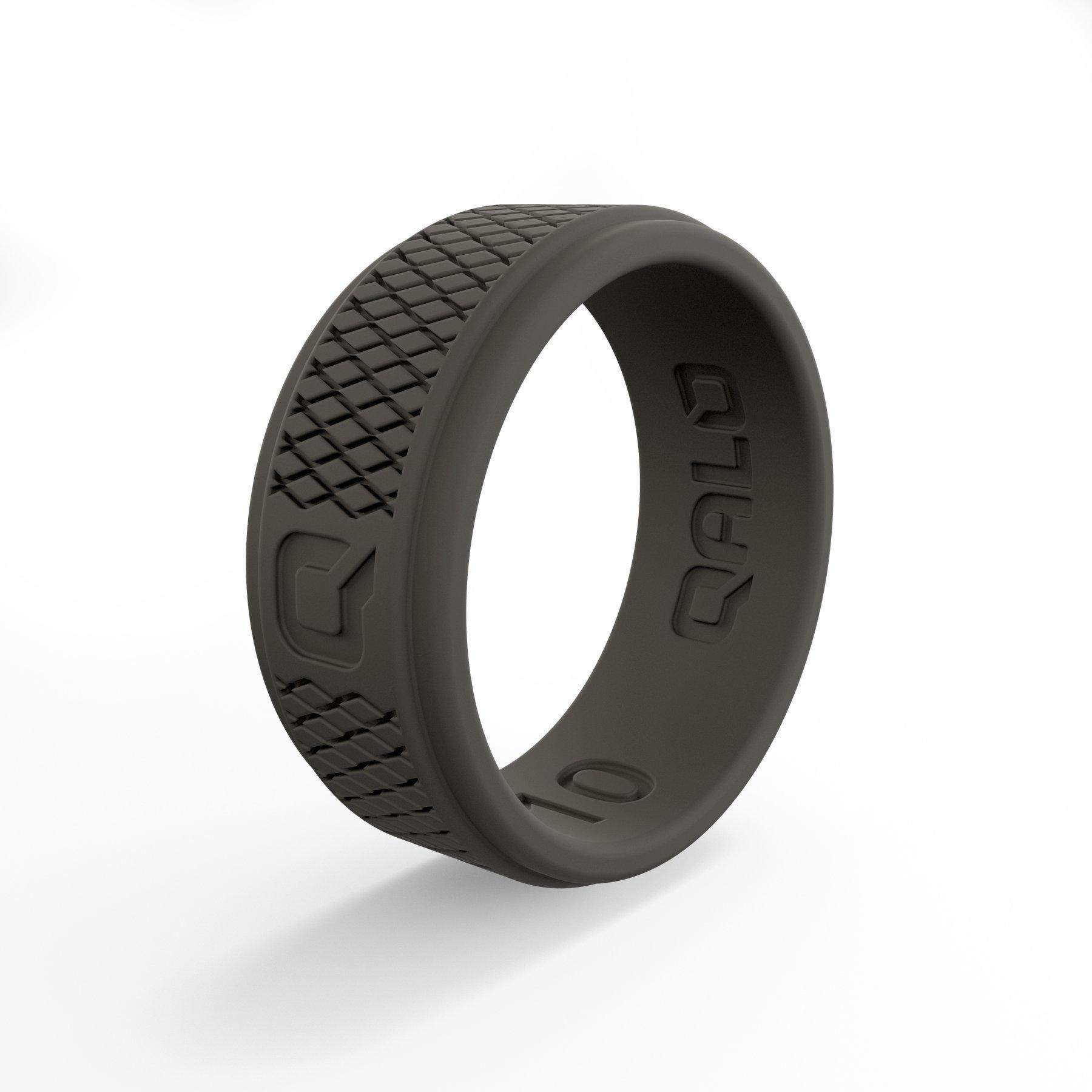 QALO Men's Functional Silicone Ring, Q2X Step Edge, Dark Grey Crosshatch, Size 10