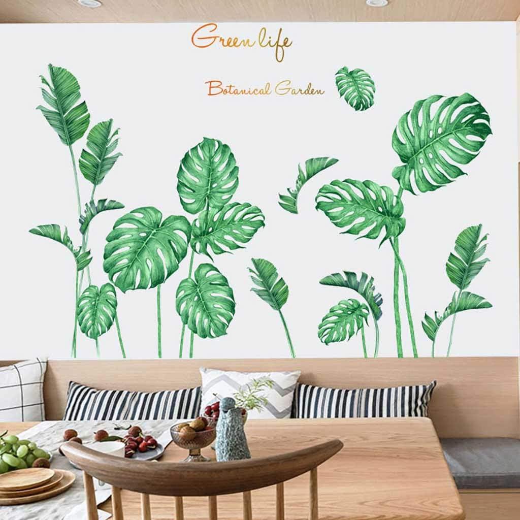 Tropical Leaves Flowers Vinyl Wall Stickers Kids Decals Nursery Decor Art Mural